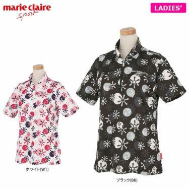 マリクレール marie claire レディース ロゴ刺繍 総柄プリント 半袖 ハーフジップシャツ 711-612 2021年モデル 詳細1