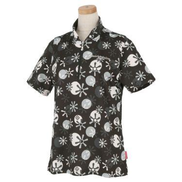 マリクレール marie claire レディース ロゴ刺繍 総柄プリント 半袖 ハーフジップシャツ 711-612 2021年モデル ブラック(BK)