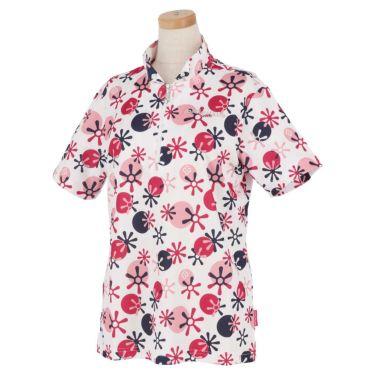 マリクレール marie claire レディース ロゴ刺繍 総柄プリント 半袖 ハーフジップシャツ 711-612 2021年モデル ホワイト(WT)