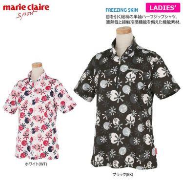 マリクレール marie claire レディース ロゴ刺繍 総柄プリント 半袖 ハーフジップシャツ 711-612 2021年モデル 詳細2
