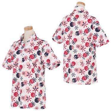 マリクレール marie claire レディース ロゴ刺繍 総柄プリント 半袖 ハーフジップシャツ 711-612 2021年モデル 詳細3