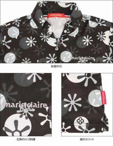 マリクレール marie claire レディース ロゴ刺繍 総柄プリント 半袖 ハーフジップシャツ 711-612 2021年モデル 詳細4