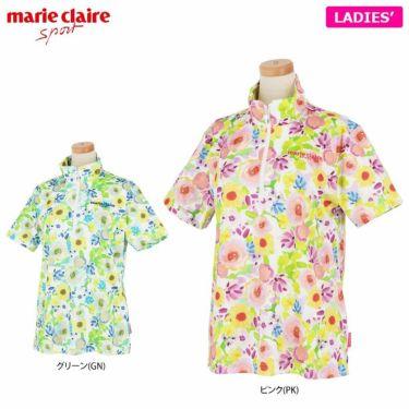マリクレール marie claire レディース ロゴ刺繍 総柄 フラワープリント 半袖 ハーフジップシャツ 711-620 2021年モデル 詳細1