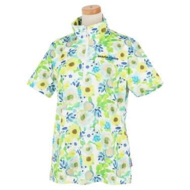 マリクレール marie claire レディース ロゴ刺繍 総柄 フラワープリント 半袖 ハーフジップシャツ 711-620 2021年モデル グリーン(GN)