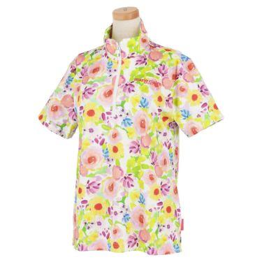 マリクレール marie claire レディース ロゴ刺繍 総柄 フラワープリント 半袖 ハーフジップシャツ 711-620 2021年モデル ピンク(PK)