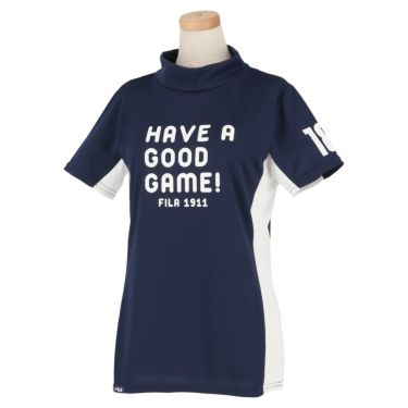 【ssプロパー】△フィラ レディース 配色切替 半袖 モックネックシャツ 751-603 ゴルフウェア [2021年春夏モデル] ネイビー(NV)