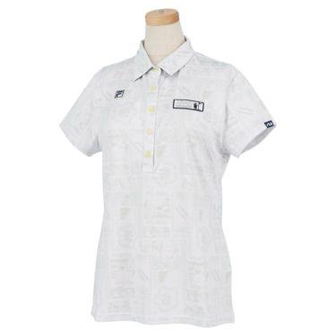 フィラ FILA レディース ボタニカル柄 メッシュ生地 半袖 ポロシャツ 751-613 2021年モデル ホワイト(WT)