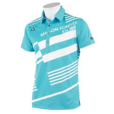 ルコック Le coq sportif メンズ ロゴ刺繍 ボーダー柄 半袖 ポロシャツ QGMRJA15 2021年モデル ブルー(BL00)