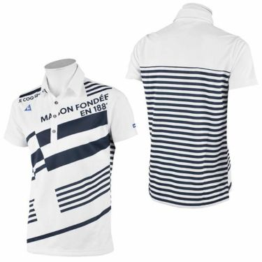ルコック Le coq sportif メンズ ロゴ刺繍 ボーダー柄 半袖 ポロシャツ QGMRJA15 2021年モデル 詳細3