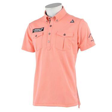 【ssプロパー】△ルコック メンズ メッシュ生地 ポケット付き 半袖 ボタンダウン ポロシャツ QGMRJA21 ゴルフウェア [2021年春夏モデル] ピンク(PK00)