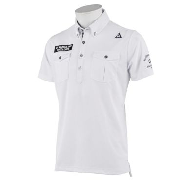 【ssプロパー】△ルコック メンズ メッシュ生地 ポケット付き 半袖 ボタンダウン ポロシャツ QGMRJA21 ゴルフウェア [2021年春夏モデル] ホワイト(WH00)
