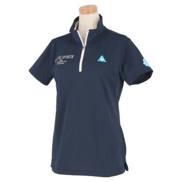 ルコック Le coq sportif レディース ロゴ刺繍 グラフィックプリント 半袖 ハーフジップシャツ QGWRJA09 2021年モデル ネイビー(NV00)