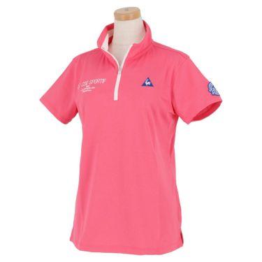 【ssプロパー】△ルコック レディース ロゴ刺繍 グラフィックプリント 半袖 ハーフジップシャツ QGWRJA09 ゴルフウェア [2021年春夏モデル] ピンク(PK00)
