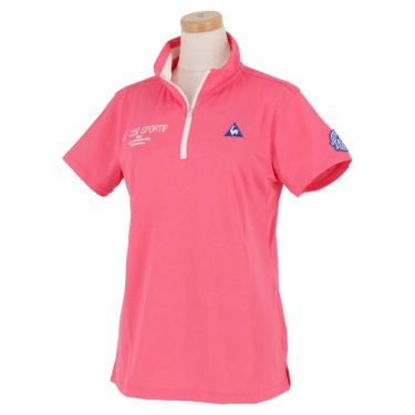 ルコック Le coq sportif レディース ロゴ刺繍 グラフィックプリント 半袖 ハーフジップシャツ QGWRJA09 2021年モデル ピンク(PK00)