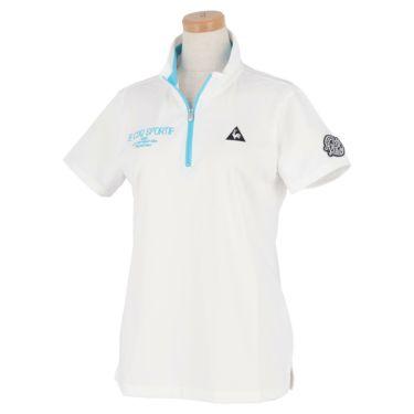 ルコック Le coq sportif レディース ロゴ刺繍 グラフィックプリント 半袖 ハーフジップシャツ QGWRJA09 2021年モデル ホワイト(WH00)