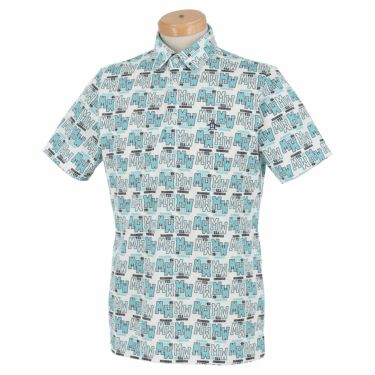マンシングウェア Munsingwear メンズ 総柄プリント 半袖 ポロシャツ MGMRJA06X 2021年モデル エメラルド(EM00)