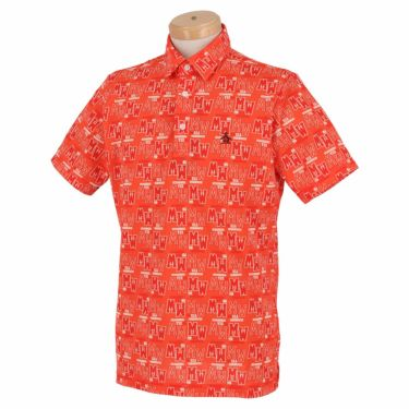 マンシングウェア Munsingwear メンズ 総柄プリント 半袖 ポロシャツ MGMRJA06X 2021年モデル オレンジ(OR00)
