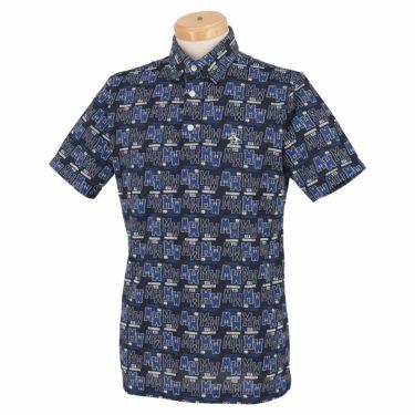 マンシングウェア Munsingwear メンズ 総柄プリント 半袖 ポロシャツ MGMRJA06X 2021年モデル ネイビー(NV00)