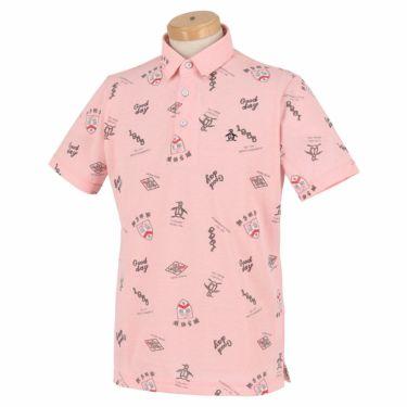 マンシングウェア Munsingwear メンズ 手書き風プリント 飛び柄 シャンブレー 半袖 ポロシャツ MGMRJA08 2021年モデル ピンク(PK00)