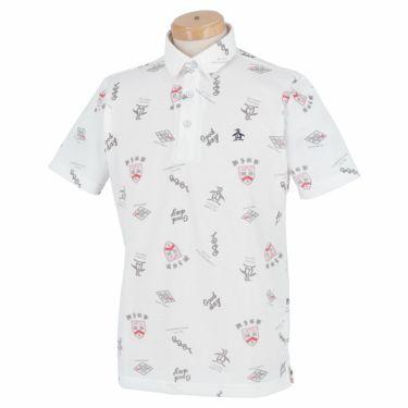 マンシングウェア Munsingwear メンズ 手書き風プリント 飛び柄 シャンブレー 半袖 ポロシャツ MGMRJA08 2021年モデル ホワイト(WH00)