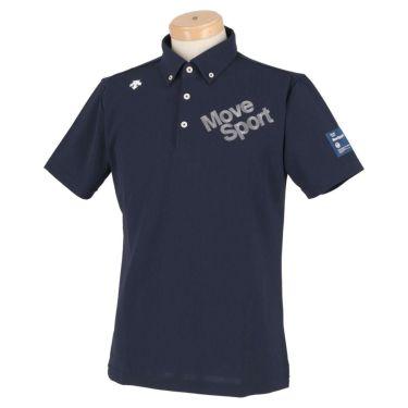 デサントゴルフ DESCENTE GOLF メンズ ストレッチ ロゴ刺繍 半袖 ボタンダウン ポロシャツ DGMRJA47 2021年モデル ネイビー(NV00)