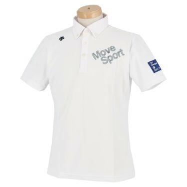 デサントゴルフ DESCENTE GOLF メンズ ストレッチ ロゴ刺繍 半袖 ボタンダウン ポロシャツ DGMRJA47 2021年モデル ホワイト(WH00)