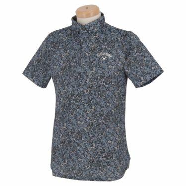 キャロウェイ Callaway メンズ 小花柄 鹿の子 半袖 ボタンダウン ポロシャツ 241-1134518 2021年モデル ブラック(010)