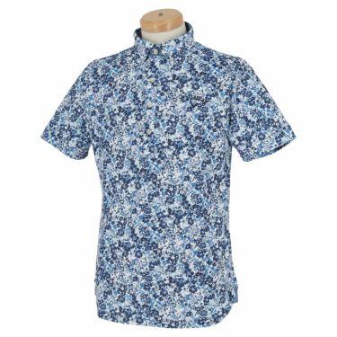 キャロウェイ Callaway メンズ 小花柄 鹿の子 半袖 ボタンダウン ポロシャツ 241-1134518 2021年モデル ネイビー(120)