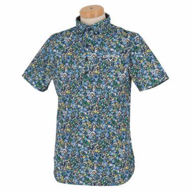 キャロウェイ Callaway メンズ 小花柄 鹿の子 半袖 ボタンダウン ポロシャツ 241-1134518 2021年モデル グリーン(140)