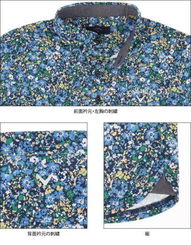 キャロウェイ Callaway メンズ 小花柄 鹿の子 半袖 ボタンダウン ポロシャツ 241-1134518 2021年モデル 詳細4