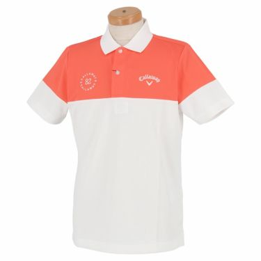 キャロウェイ Callaway メンズ バイカラー 半袖 ポロシャツ 241-1134525 2021年モデル コーラル(101)