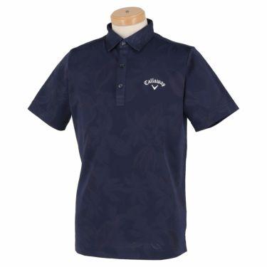 キャロウェイ Callaway メンズ 総柄 フラワージャカード 半袖 ポロシャツ 241-1134535 2021年モデル ネイビー(120)