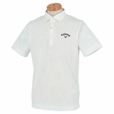 キャロウェイ Callaway メンズ 総柄 フラワージャカード 半袖 ポロシャツ 241-1134535 2021年モデル ホワイト(030)