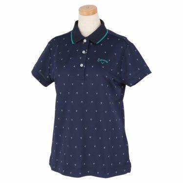 キャロウェイ Callaway レディース シェブロンプリント 鹿の子 半袖 ポロシャツ 241-1134808 2021年モデル ネイビー(120)
