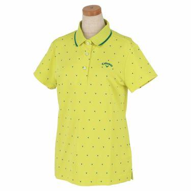 キャロウェイ Callaway レディース シェブロンプリント 鹿の子 半袖 ポロシャツ 241-1134808 2021年モデル ライトグリーン(130)