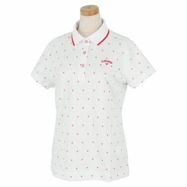 キャロウェイ Callaway レディース シェブロンプリント 鹿の子 半袖 ポロシャツ 241-1134808 2021年モデル ホワイト(030)