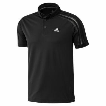 アディダス adidas メンズ メッシュ スリーストライプス 半袖 ボタンダウン ポロシャツ 23290 2021年モデル ブラック(GM3617)