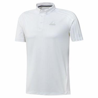アディダス adidas メンズ メッシュ スリーストライプス 半袖 ボタンダウン ポロシャツ 23290 2021年モデル ホワイト(GM3614)