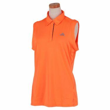 【ssプロパー】△アディダス レディース ロゴプリント ノースリーブ ボタンダウン ポロシャツ 23253 ゴルフウェア [2021年春夏モデル] スクリーミングオレンジ(GM3746)