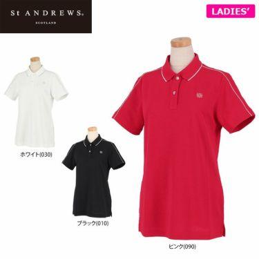 セントアンドリュース St ANDREWS レディース 鹿の子 ロゴ刺繍 半袖 ポロシャツ 043-1160352 2021年モデル 詳細1