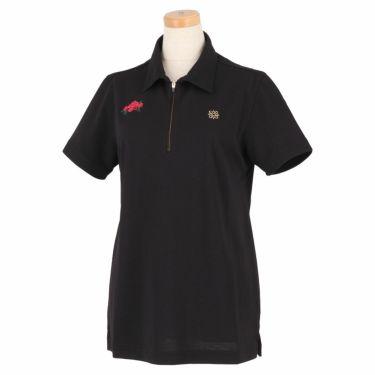 セントアンドリュース St ANDREWS レディース 鹿の子 モチーフ刺繍 半袖 ハーフジップ ポロシャツ 043-1160552 2021年モデル ブラック(010)