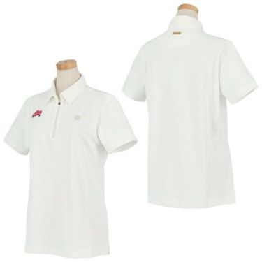 セントアンドリュース St ANDREWS レディース 鹿の子 モチーフ刺繍 半袖 ハーフジップ ポロシャツ 043-1160552 2021年モデル 詳細3