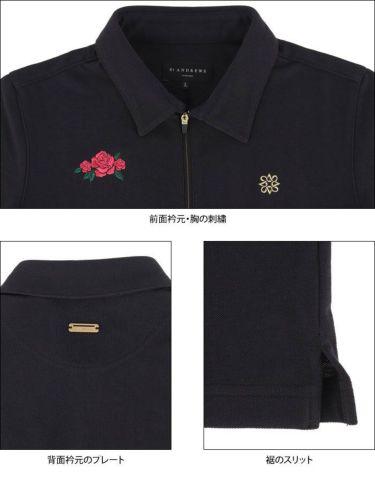 セントアンドリュース St ANDREWS レディース 鹿の子 モチーフ刺繍 半袖 ハーフジップ ポロシャツ 043-1160552 2021年モデル 詳細4