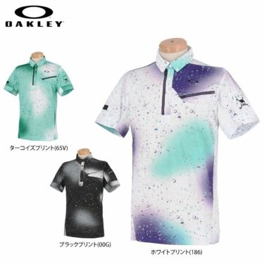 オークリー OAKLEY メンズ SKULL グラフィックプリント柄 半袖 ハーフジップ ボタンダウン ポロシャツ FOA402489 2021年モデル 詳細1