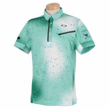 オークリー OAKLEY メンズ SKULL グラフィックプリント柄 半袖 ハーフジップ ボタンダウン ポロシャツ FOA402489 2021年モデル ターコイズプリント(65V)