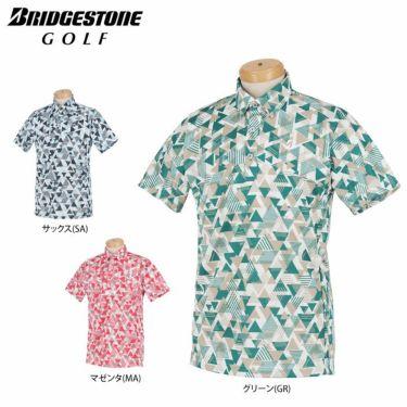 ブリヂストンゴルフ メンズ 幾何学柄 メッシュ生地 半袖 ポロシャツ 3GT05A 2021年モデル 詳細1