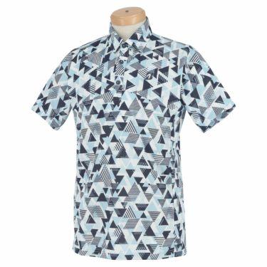 ブリヂストンゴルフ メンズ 幾何学柄 メッシュ生地 半袖 ポロシャツ 3GT05A 2021年モデル サックス(SA)
