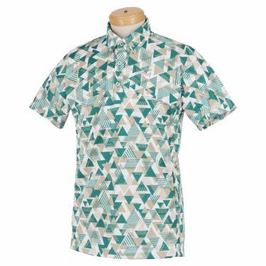 ブリヂストンゴルフ メンズ 幾何学柄 メッシュ生地 半袖 ポロシャツ 3GT05A 2021年モデル グリーン(GR)