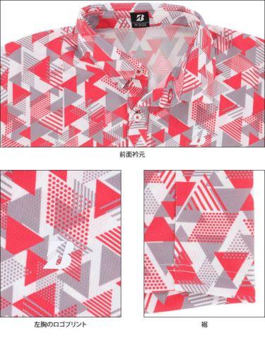 ブリヂストンゴルフ メンズ 幾何学柄 メッシュ生地 半袖 ポロシャツ 3GT05A 2021年モデル 詳細4