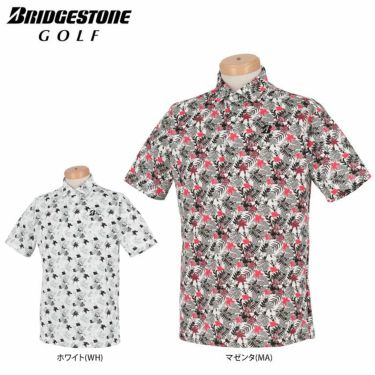 ブリヂストンゴルフ メンズ ボタニカル柄 メッシュ生地 半袖 ポロシャツ TGM05A 2021年モデル 詳細1